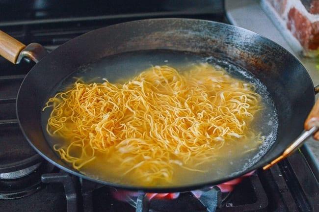 Boiling hong kong pan-fried noodles, thewoksoflife.com