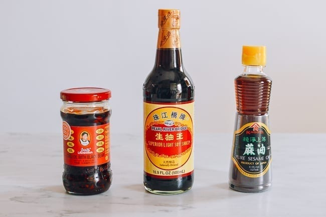 Laoganma, soy sauce, and sesame oil, thewoksoflife.com