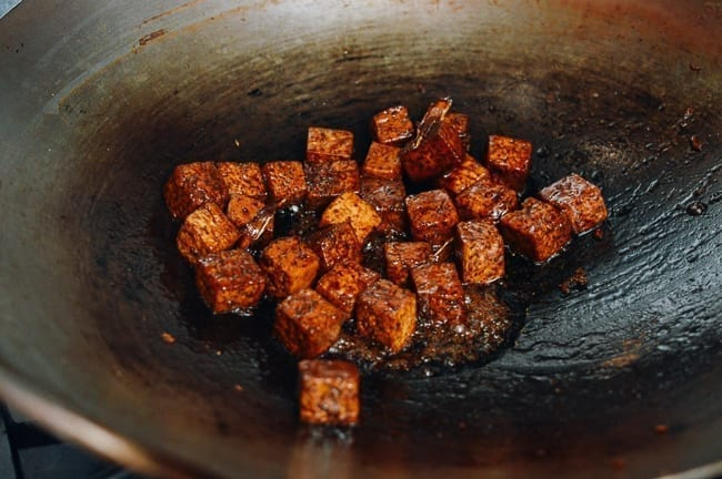 Reduced sauce coating tofu, thewoksoflife.com