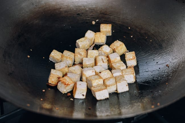 Browned cubes of firm tofu, thewoksoflife.com