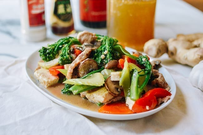 Pork and mixed vegetable stir-fry with Chinese white sauce, thewoksoflife.com