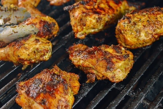 Thai marinated chicken on the grill, thewoksoflife.com