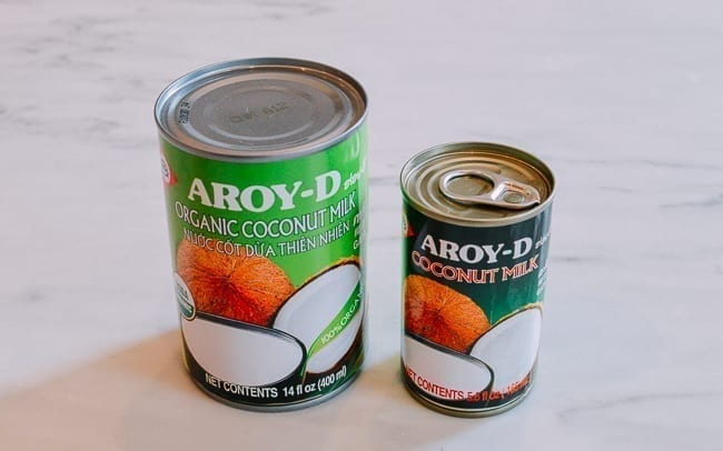 Two sizes of canned coconut milk, thewoksoflife.com