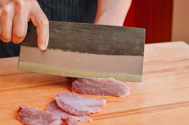 Slicing pork for stir-fry, thewoksoflife.com