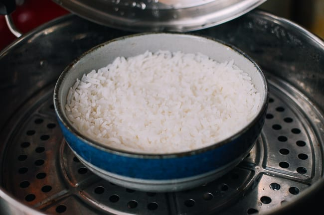 Cooking rice in metal steamer, thewoksoflife.com