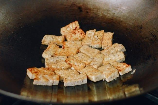 Pan-frying tofu in wok, thewoksoflife.com