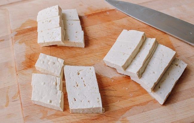 Firm tofu cut into rectangles, thewoksoflife.com