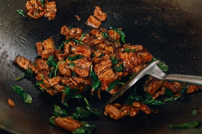 Thai Basil Pork Belly stir-fry in wok, thewoksoflife.com
