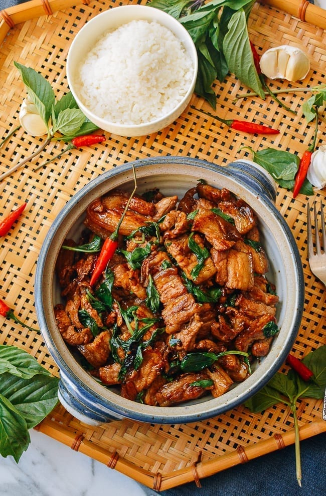 Thai Basil Pork Belly Recipe, thewoksoflife.com