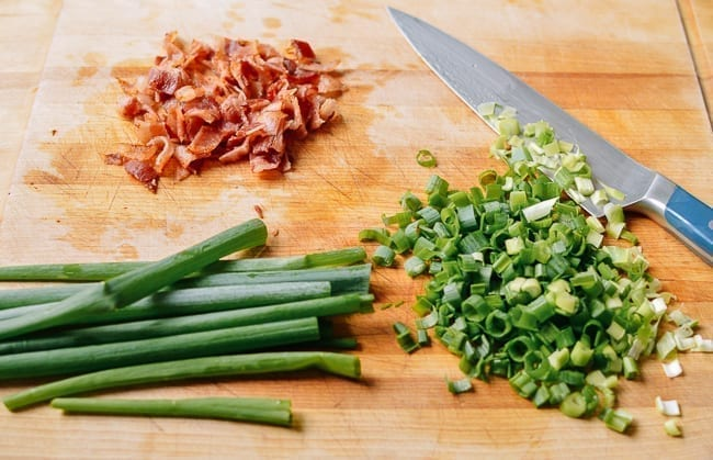 Chopped bacon and scallions