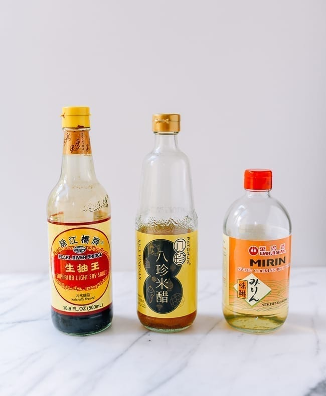 Soy sauce, rice vinegar, and mirin