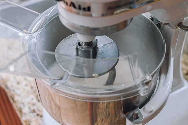 Washing dough with pouring spout on mixer, thewoksoflife.com