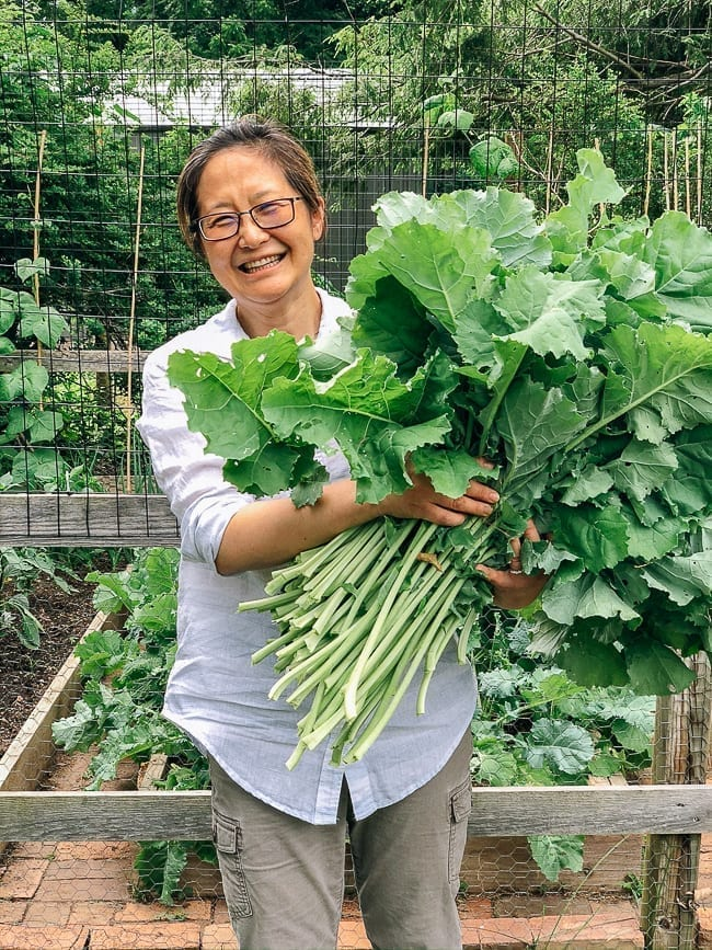Judy with kale harvest, thewoksoflife.com
