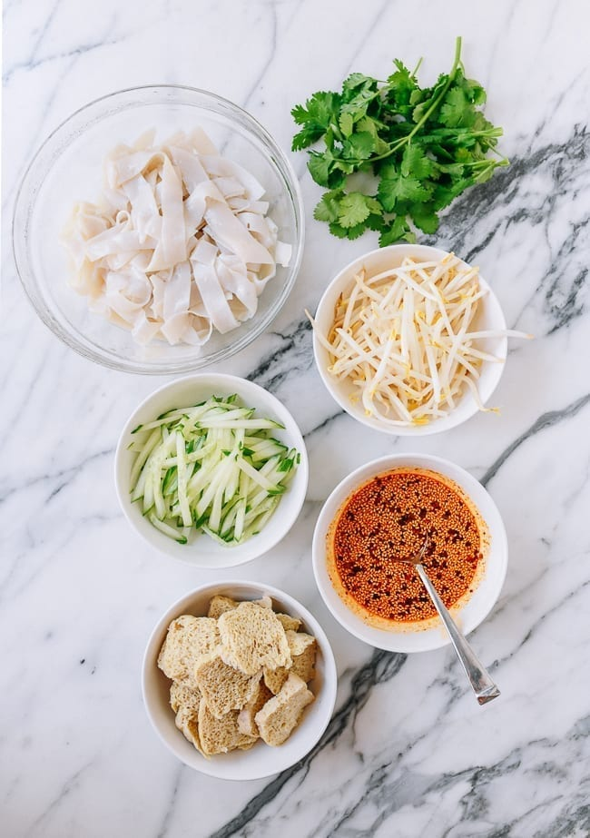 Cold Skin Noodles ingredients, thewoksoflife.com