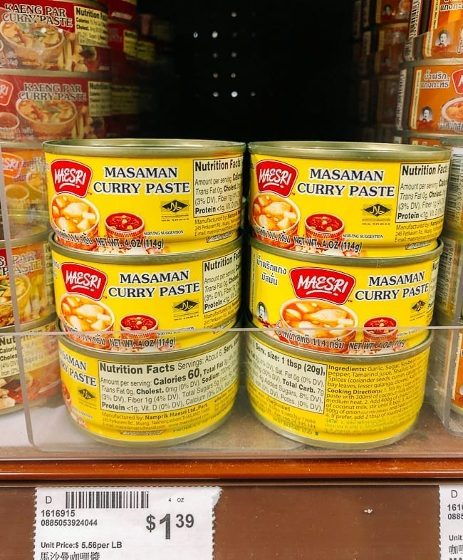 Massaman Curry Paste on store shelf, thewoksoflife.com