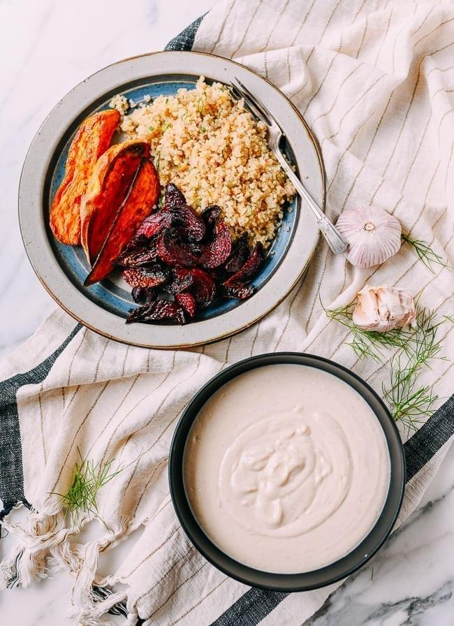 Tofu garlic aioli, served with roasted vegetables and quinoa, thewoksoflife.com