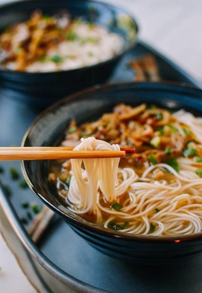 Chinese Zha Cai Noodle Soup, thewoksoflife.com