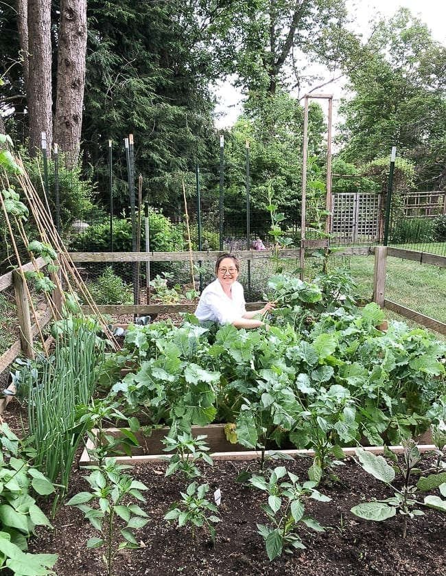 Judy in The Woks of Life family garden, thewoksoflife.com