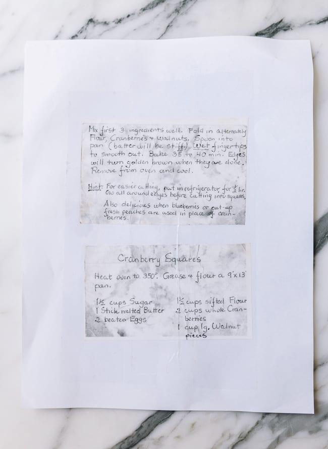 Original handwritten cranberry square recipe, thewoksoflife.com