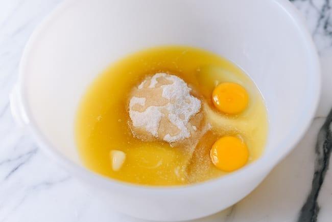 Sugar, butter, and eggs in mixing bowl, thewoksoflife.com