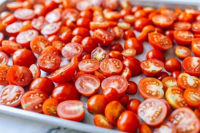 Tomatoes on baking sheet, thewoksoflife.com