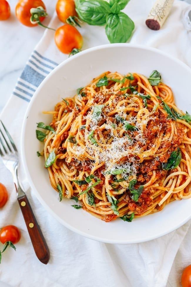 Roasted Tomato Meat Sauce and Spaghetti, thewoksoflife.com
