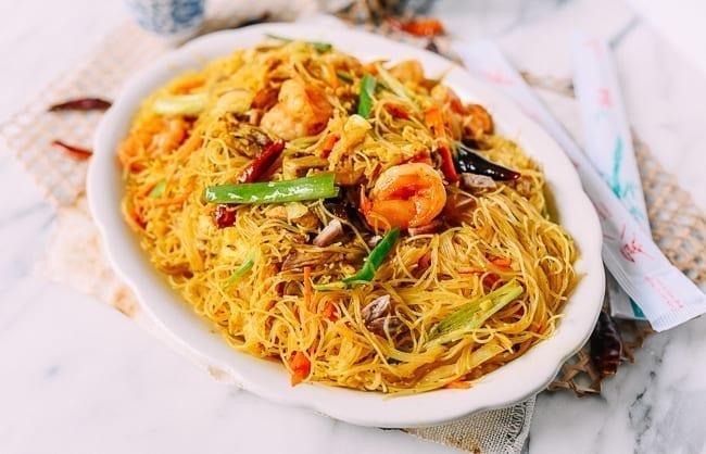 Singapore Mei Fun Rice Noodles on white plate, thewoksoflife.com
