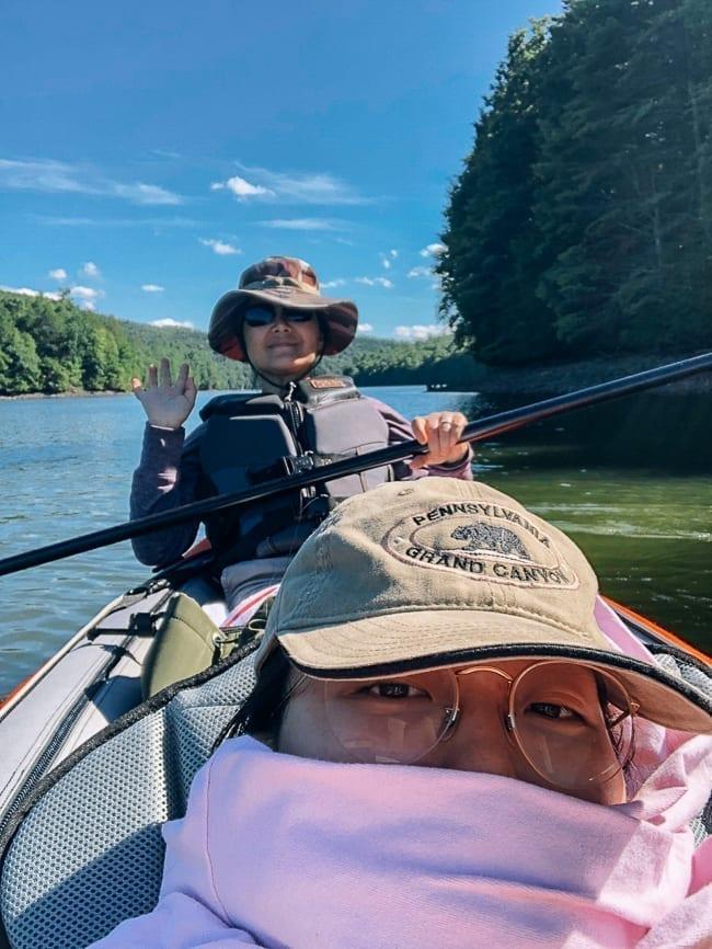 Kaitlin and Judy Kayaking on a reservoir, thewoksoflife.com