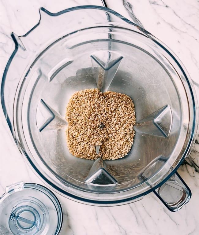 Brown rice grains in blender, thewoksoflife.com