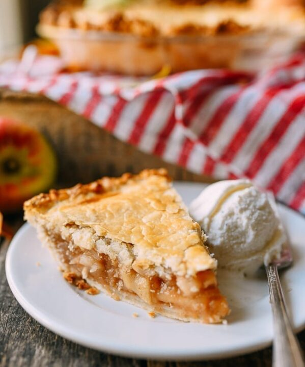 Slice of apple pie with vanilla ice cream, thewoksoflife.com
