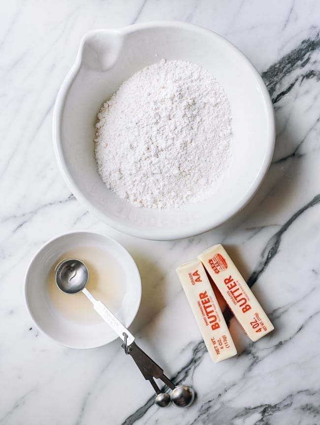 Water, salt, and sugar solution, flour, and butter, thewoksoflife.com