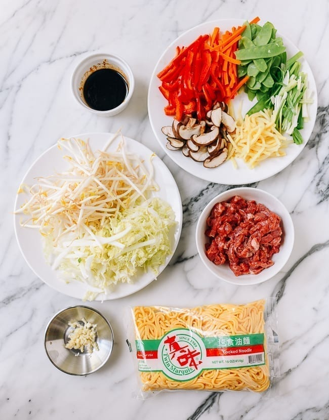 Beef Lo Mein Ingredients, thewoksoflife.com