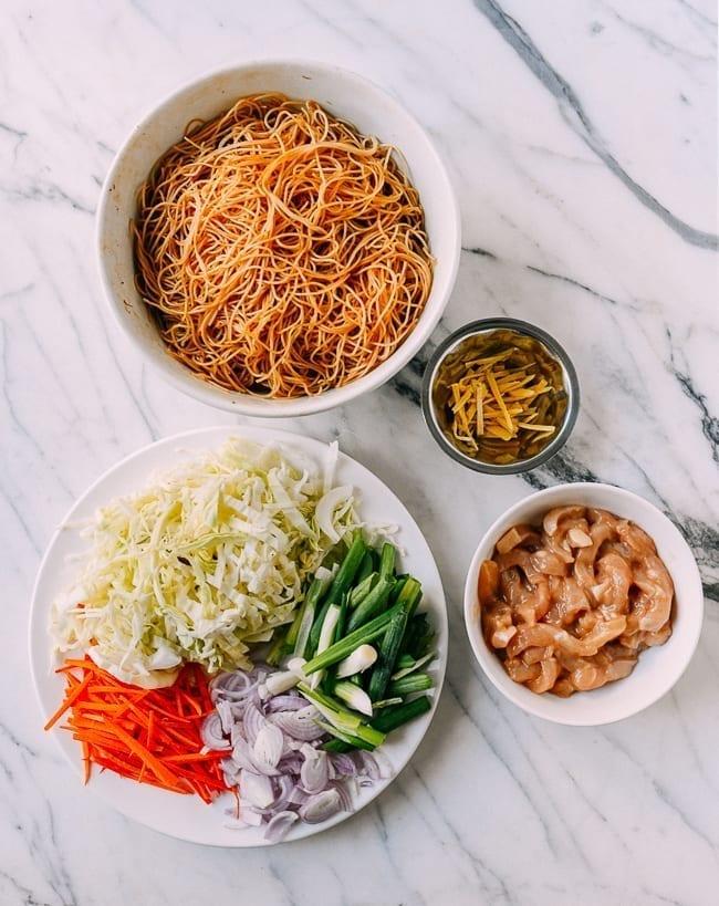 Chicken Mei Fun Ingredients, including noodles, vegetables, chicken, and ginger, thewoksoflife.com