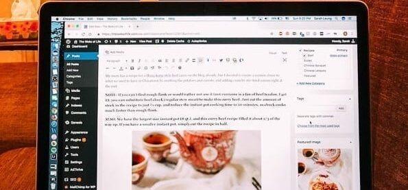 computer screen showing wordpress blogging dashboard, thewoksoflife.com