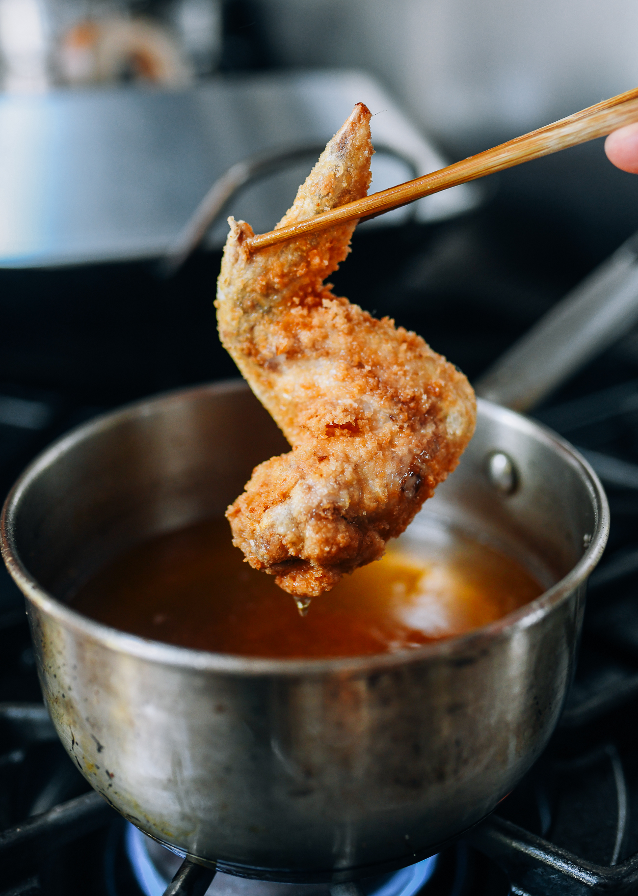 Chicken wing after first fry