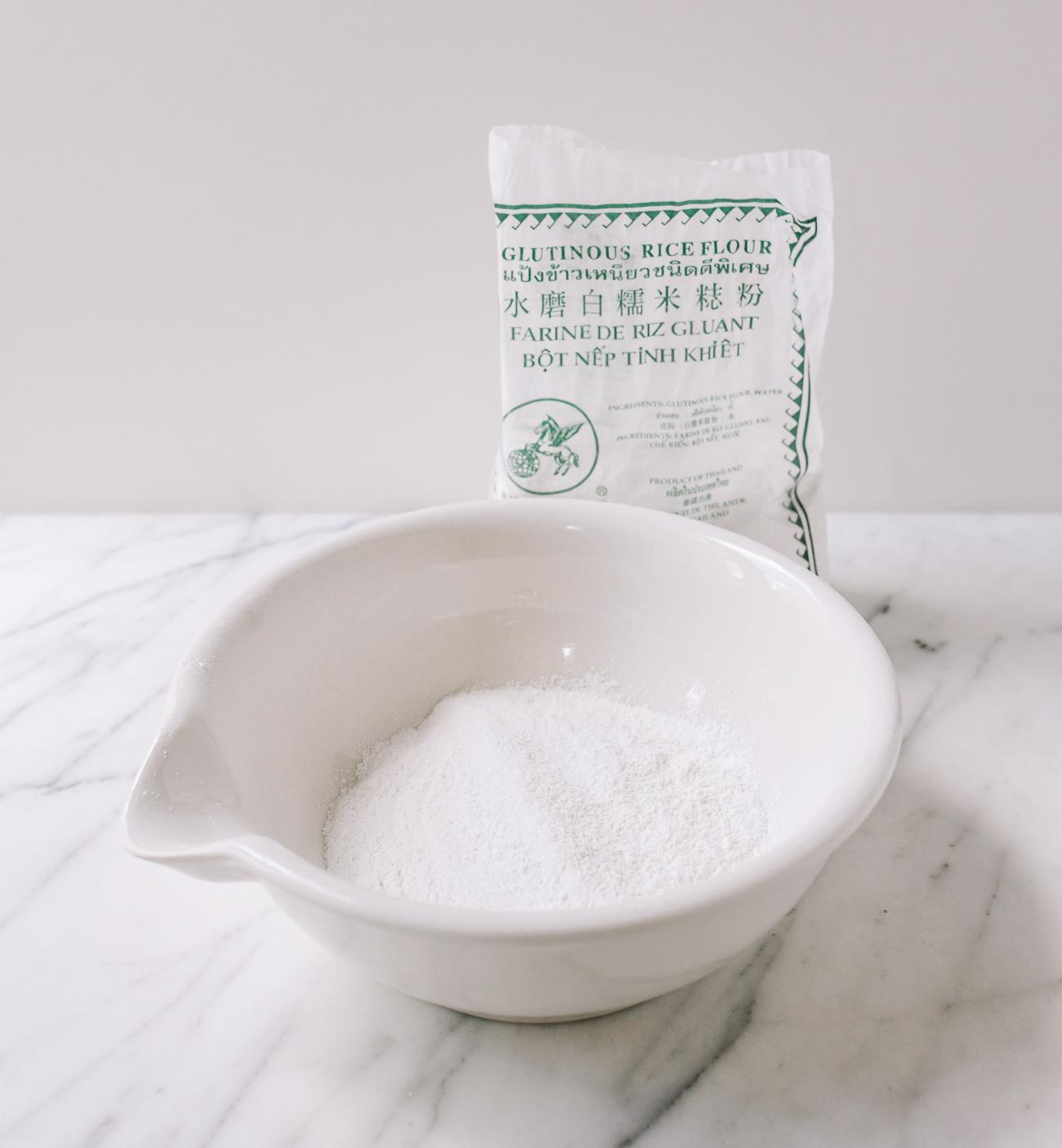 Glutinous rice flour and sugar in mixing bowl, thewoksoflife.com