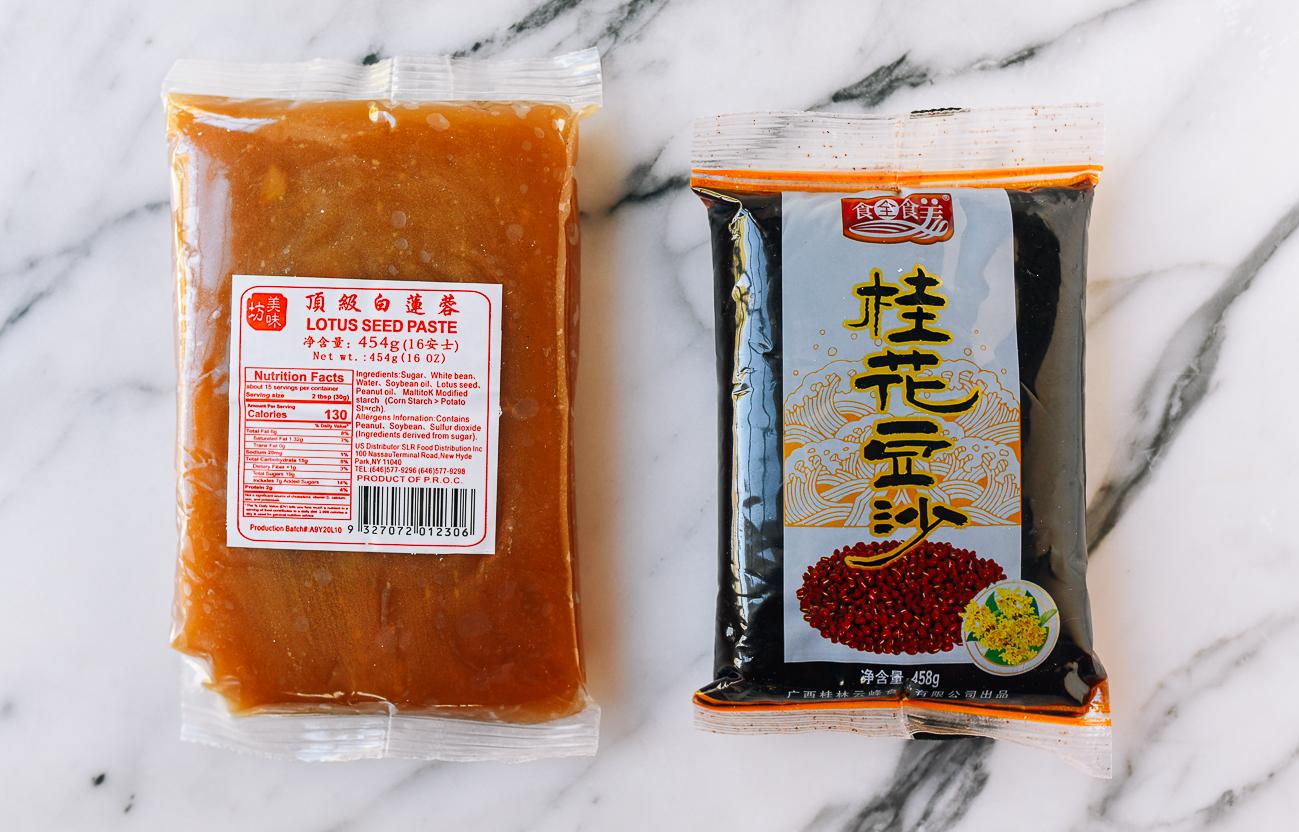 Packaged lotus and red bean paste, thewoksoflife.com