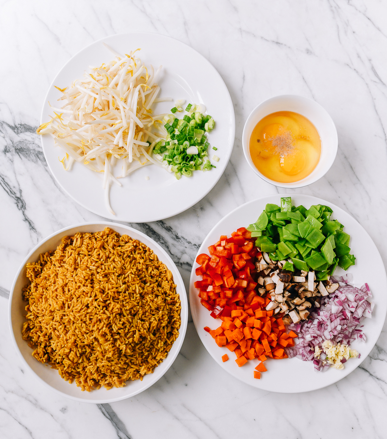 Vegetable fried rice ingredients