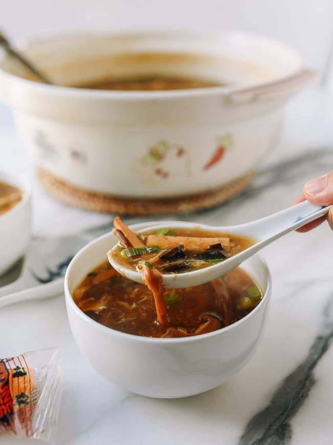 Spoonful of vegetarian hot and sour soup, thewoksoflife.com