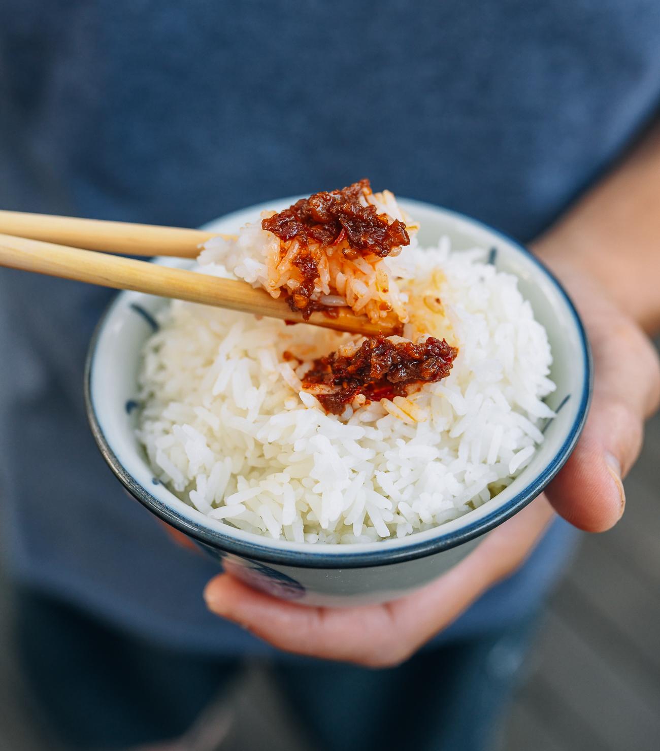 Belacan sauce on white rice