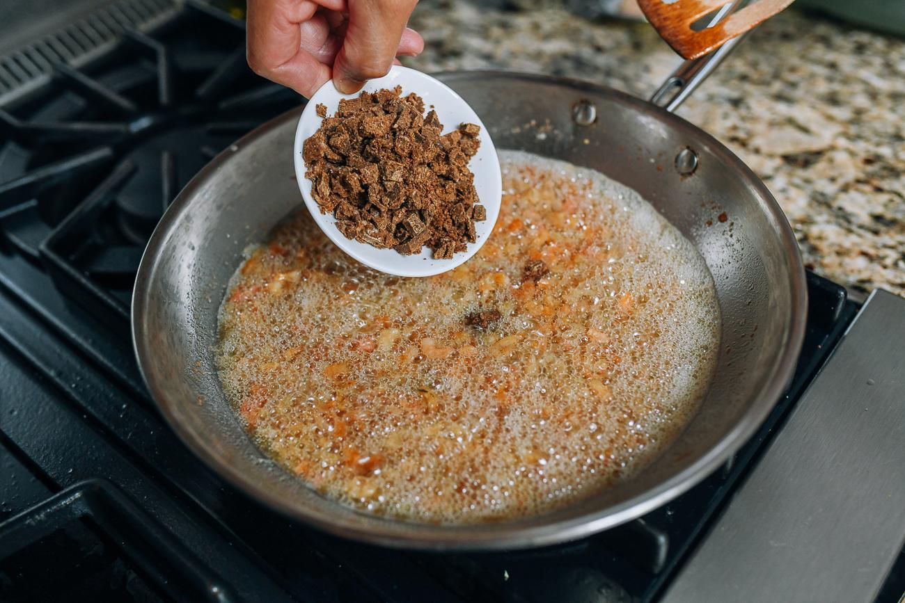 Adding belacan to dried shrimp