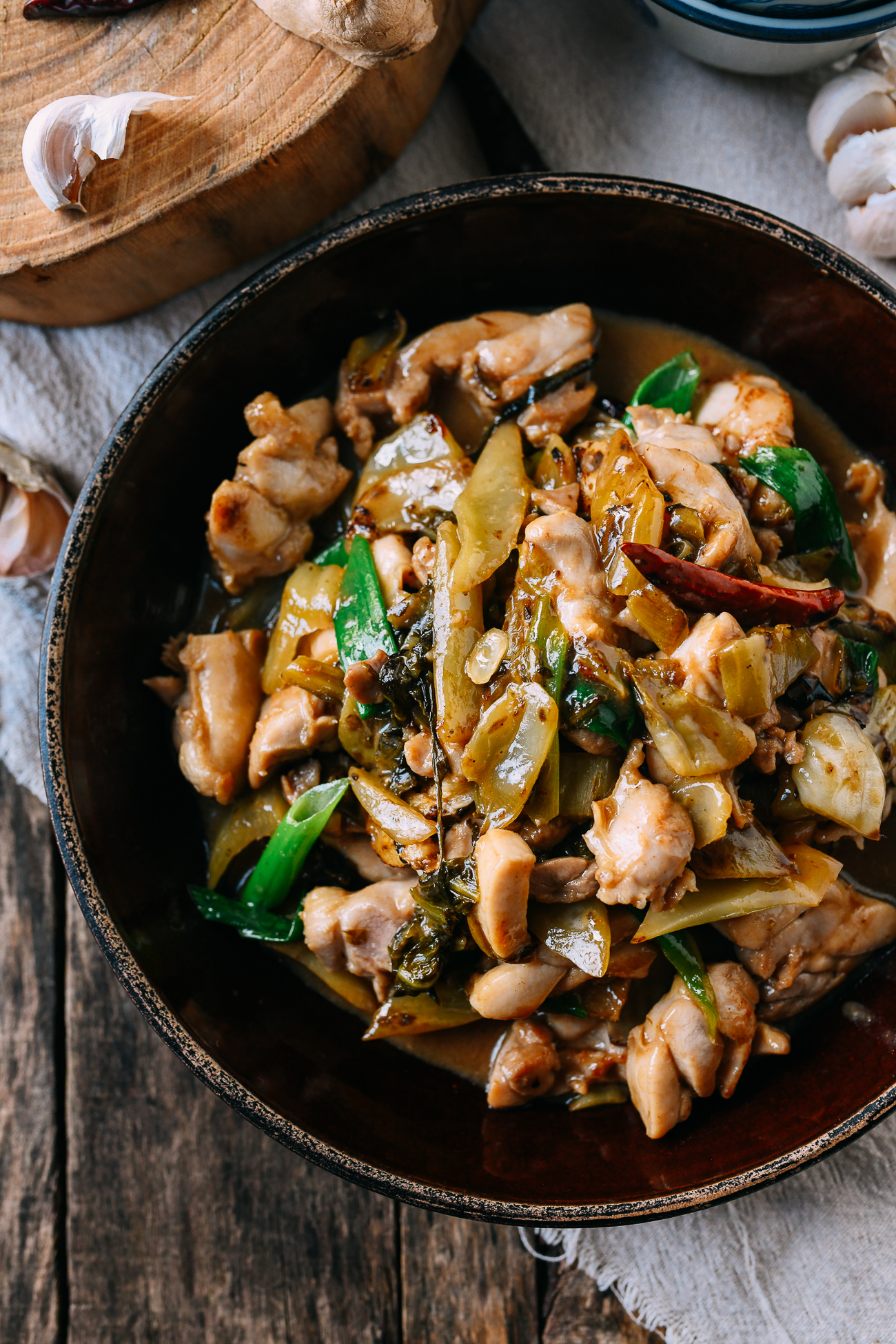 Chicken with Pickled Mustard Greens