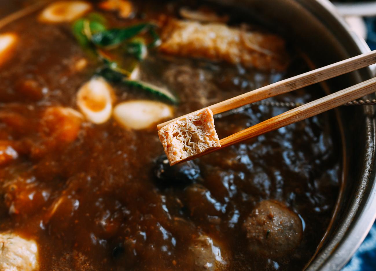 Frozen tofu in hot pot