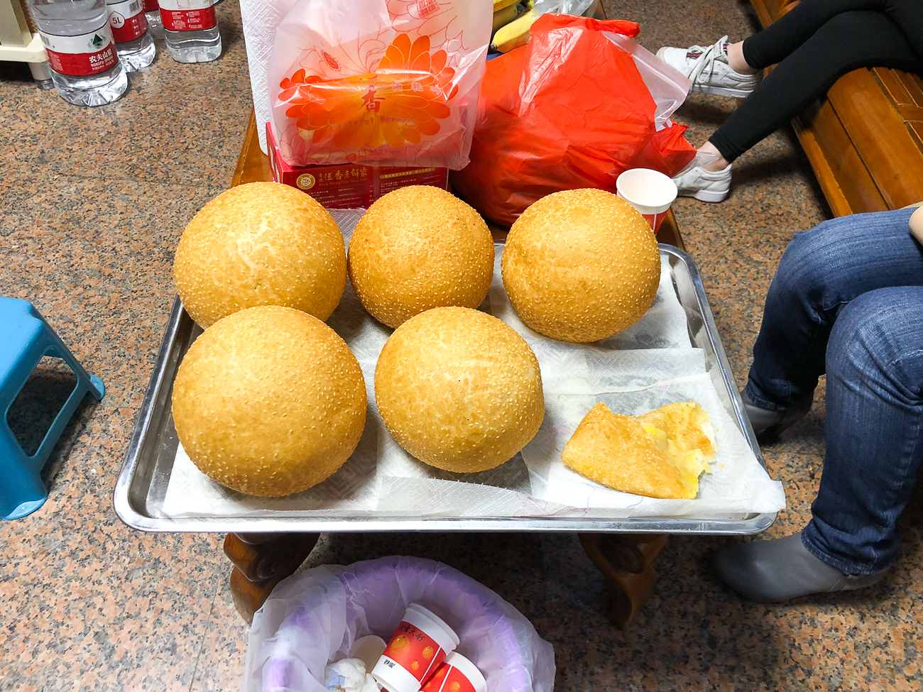 Giant Chinese Sesame Balls on Tray