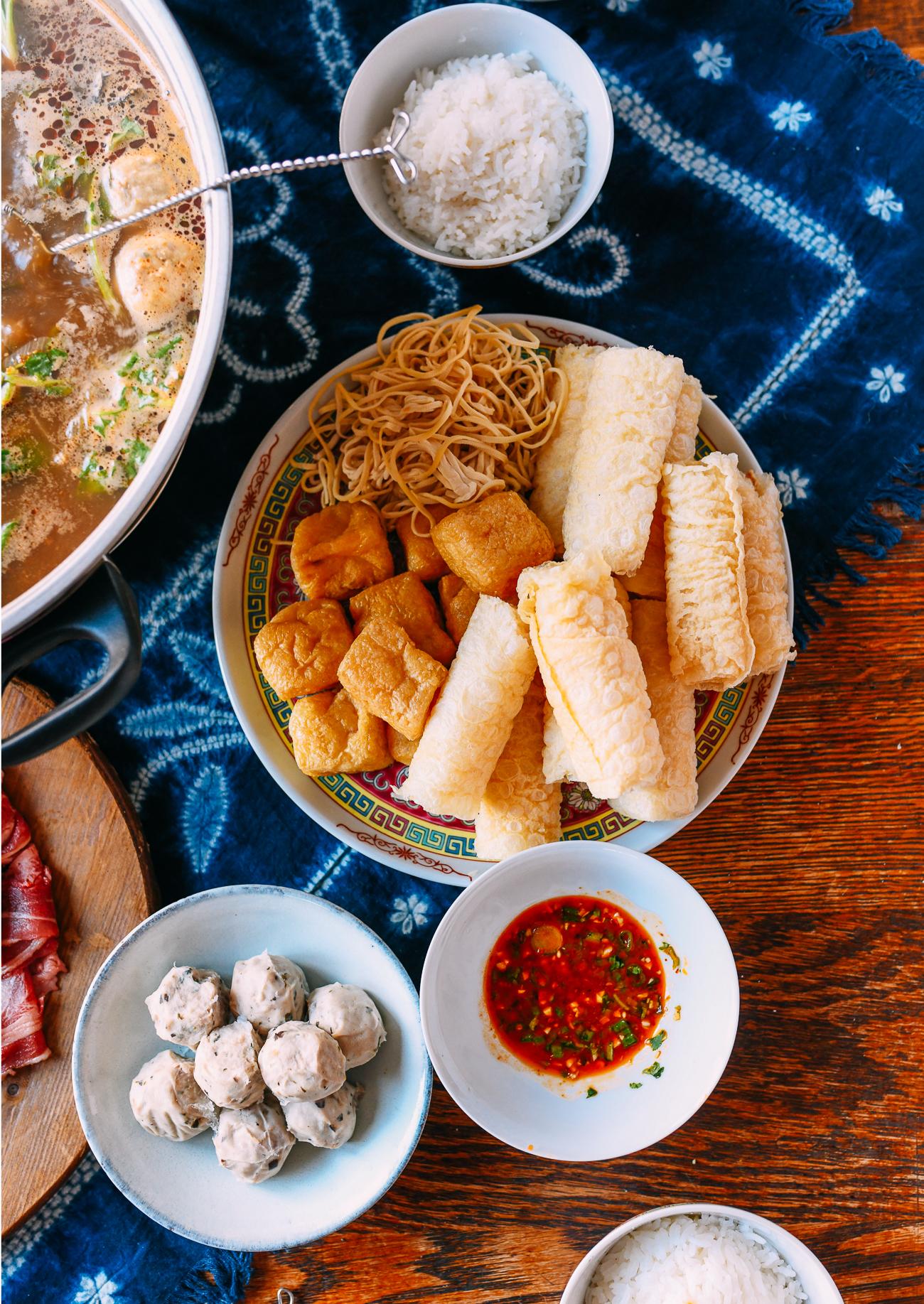 Tofu puffs, bean curd rolls, tofu noodles