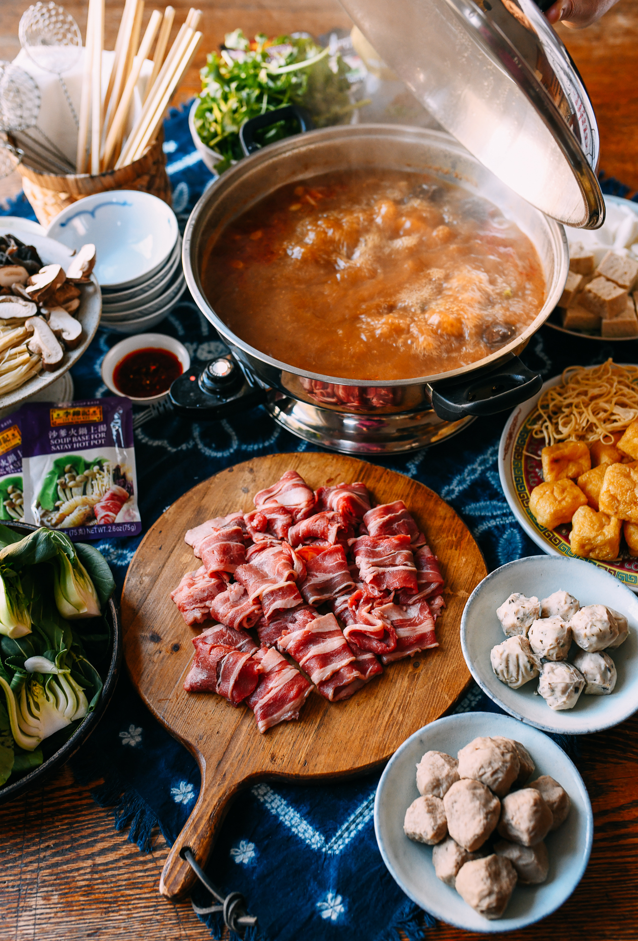Hot Pot Spread, including sliced beef, beef, balls, and pork balls