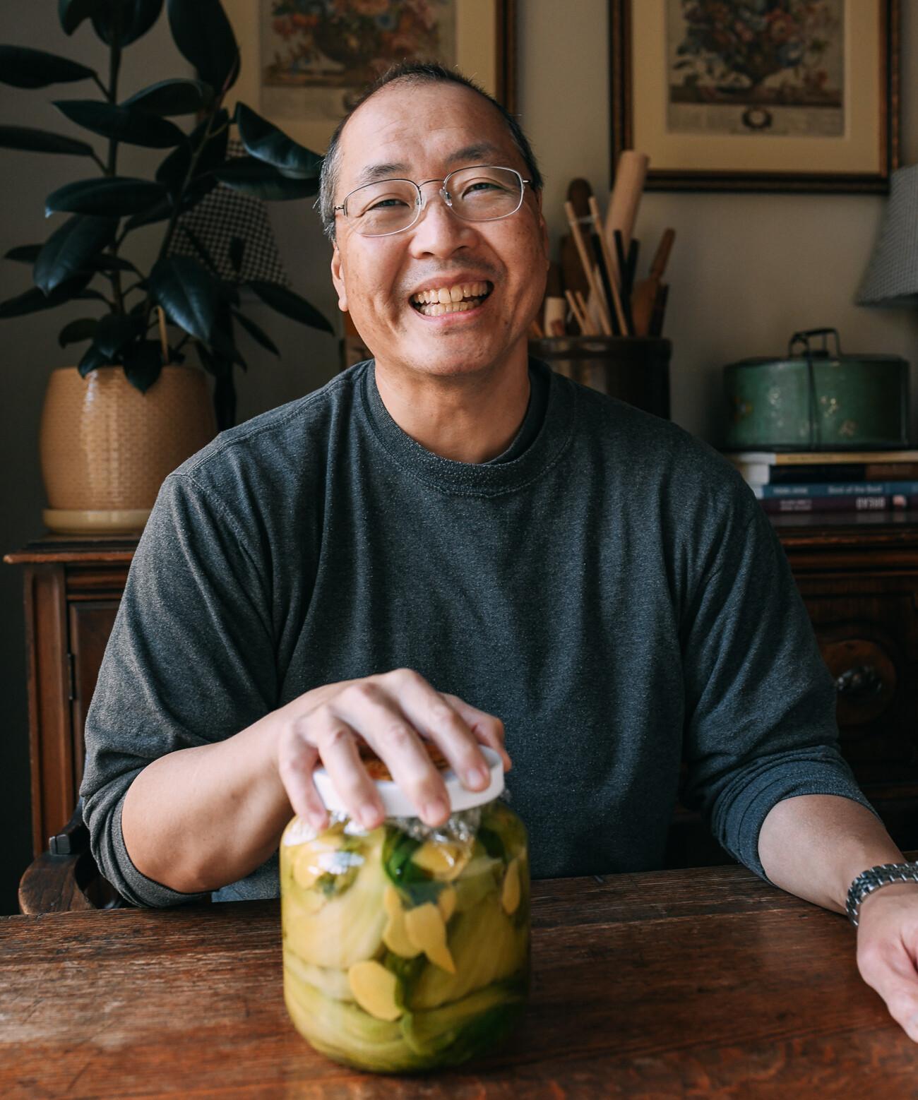 Bill with jar of haam choy