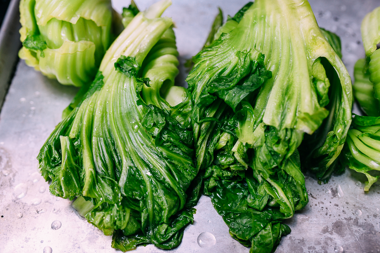 Cooling blanched mustard greens