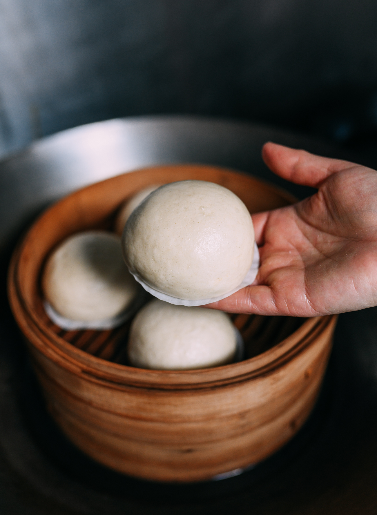 Red bean buns in steamers