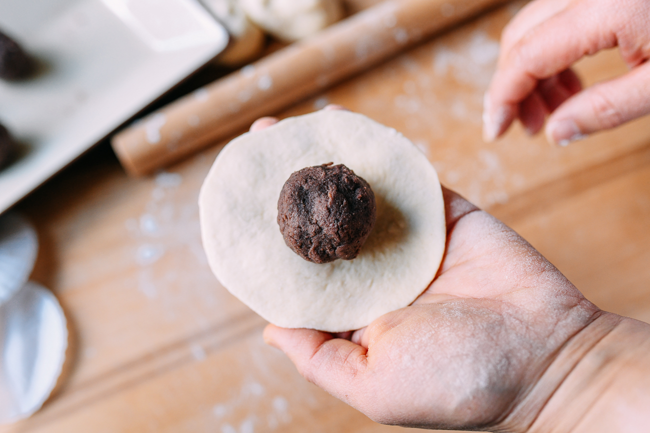 Red Bean in center of dough circle